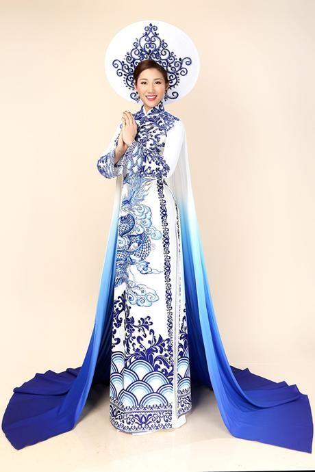 Bảo Như mặc áo dài bên dàn thí sinh Hoa hậu Liên lục địa