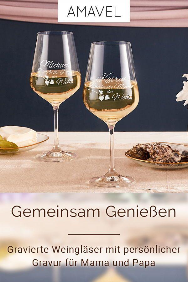 Weinglaser Mit Personlicher Gravur Fur Mama Und Papa Die Glaser
