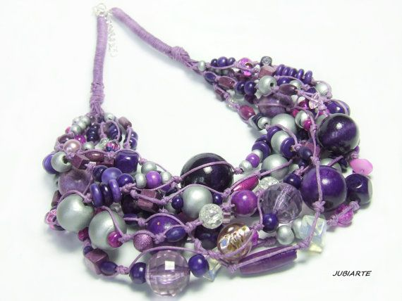 SILVERY VIOLETS Braided Necklace Multicolored Necklace by JUBIARTE