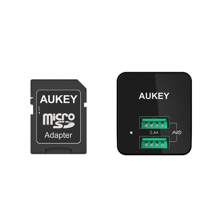 aukey usb wall charger ultra compact dual port 2 4a output on usb wall charger id=27563