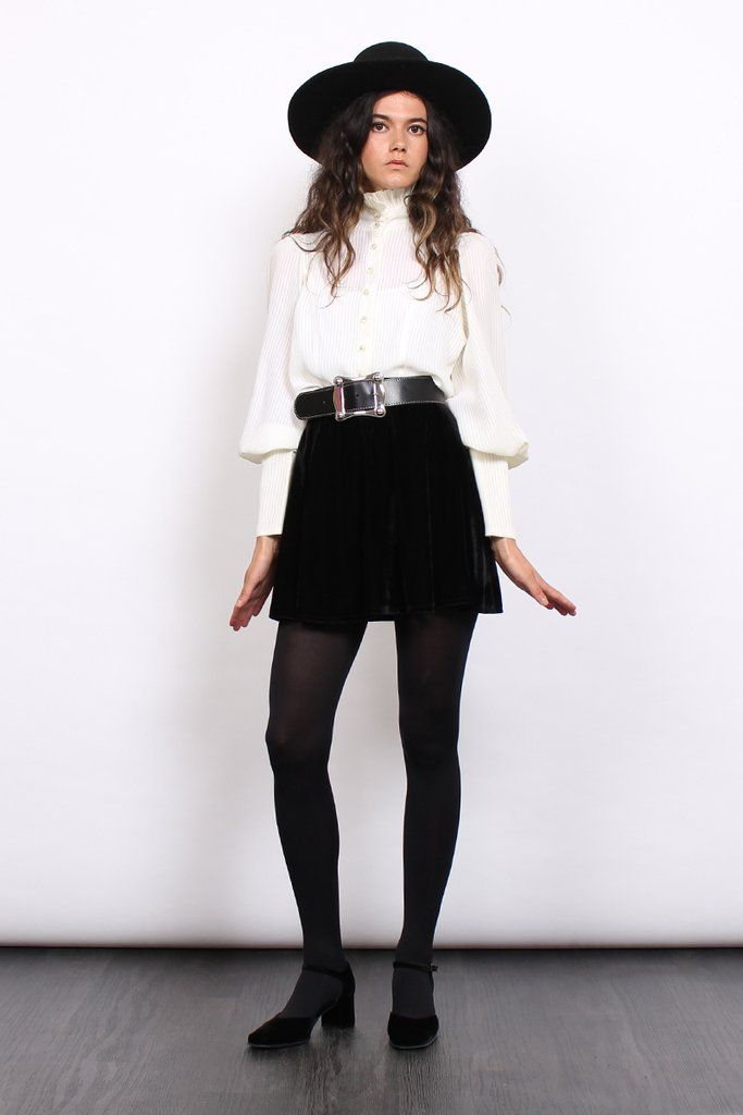 Vintage 70s Ivory Leg Of Mutton Sleeve Stripe Victorian Blouse