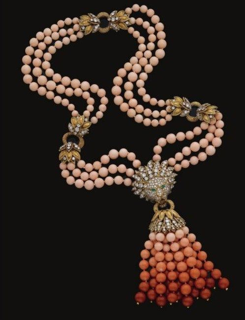 Coral, emerald, and diamond necklace/bracelet combination, Van Cleef & Arpels, 1970s. Photo via Sotheby's