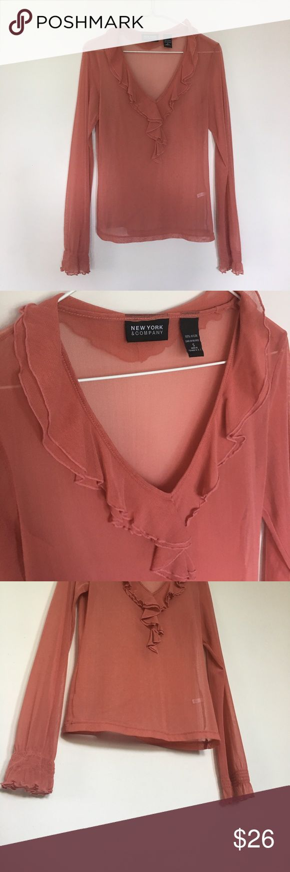 New York & Company sheer mesh coral blouse Long sleeve sheer mesh coral blouse with ruffle deep v neckline and cuff detail lettuce edge ~ cute brunch, baby or bridal shower dress up or down top LIKE NEW* New York & Company Tops Blouses