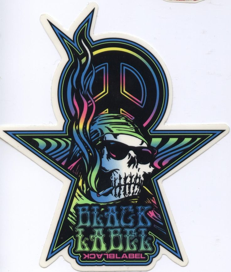 Black label skateboards smoking skull sticker click on picture to purchase