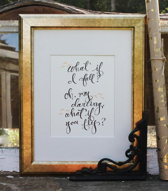 "Graduation gift - Alice in Wonderland quote - 8x10 original calligraphy artwork ""What if I fall...What if you fly"" Print by Houseof3"