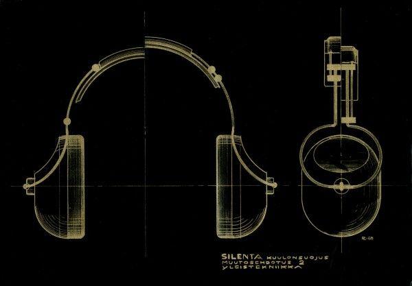 Tuotesuunnittelu Pentti Leskinen: Silenta kuulonsuojaimet, luonnos / The Silenta Mil hearing protectors, draft. Exel Oy. (1968).