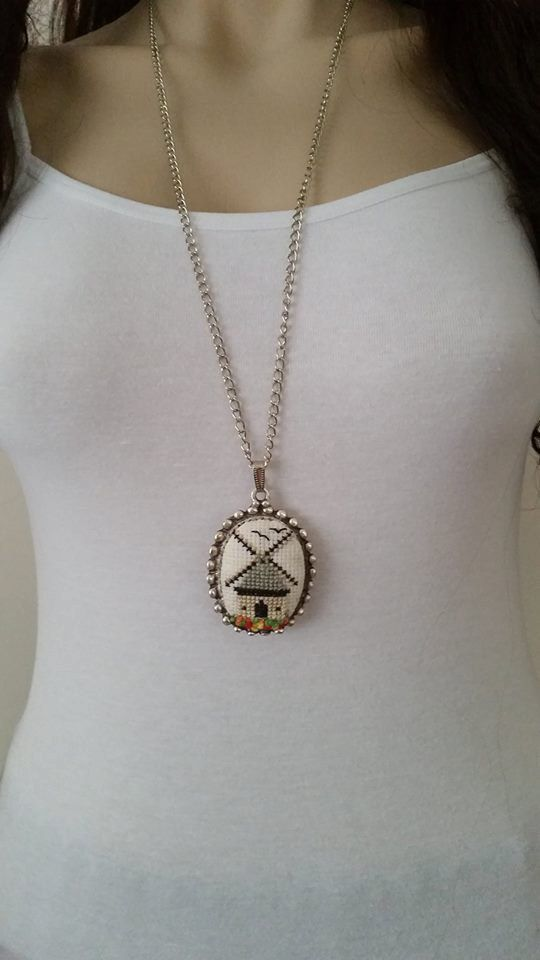 Cross stitch necklace, mill necklace, pendant, jewelry, cross stitch jewelry, Valentine's Day gift, gift for her, embroidery necklace
