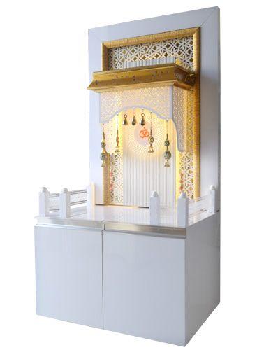 Pooja Mandir with storage cabinet by The Mandir Store