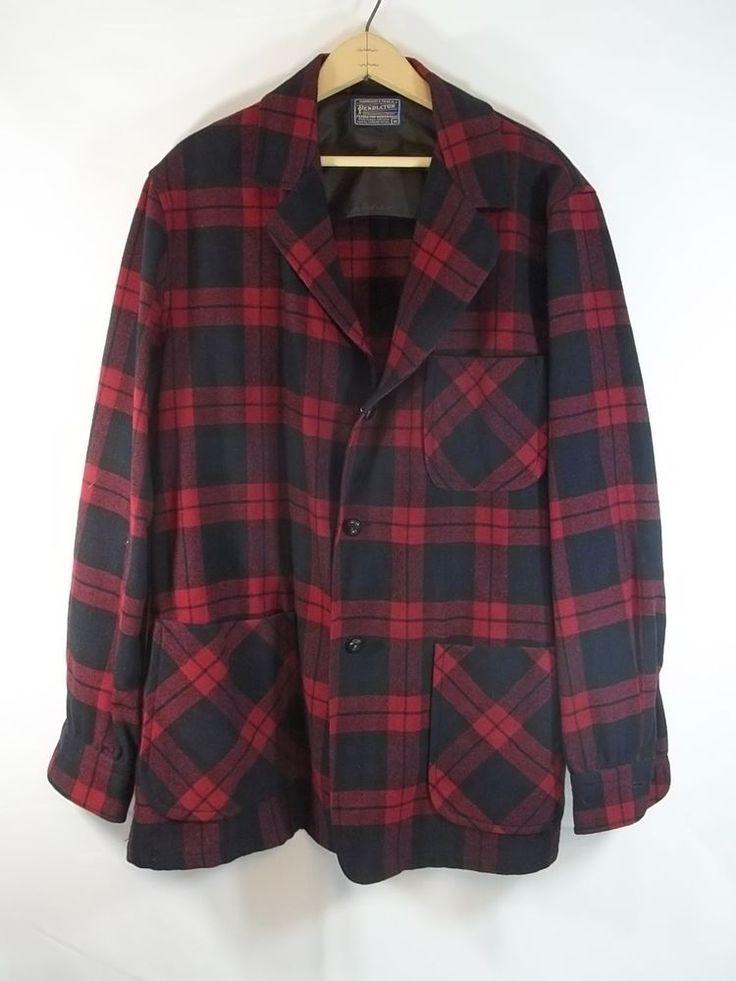 Mens Wool Jacket Blazer Pendelton 49ers Shirt Sport Coat Red Blue Plaid M #Pendelton #ThreeButton
