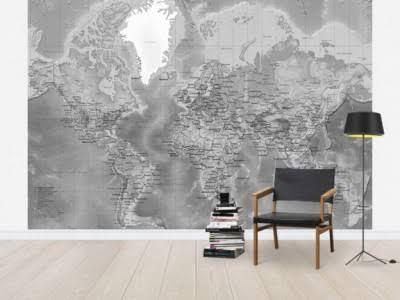 14 best World Map Decors images on Pinterest Murals, Wall murals - best of world map grey image