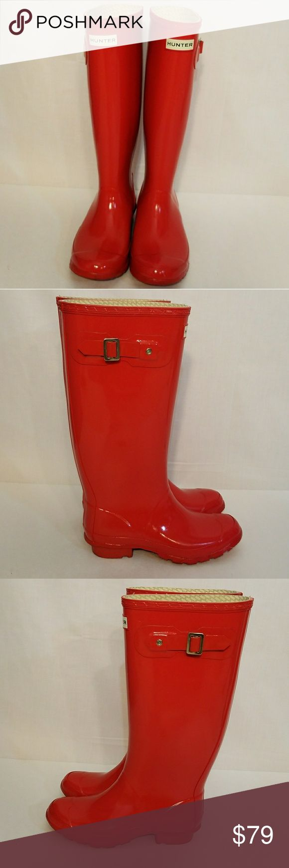 Hunter Huntress Red Gloss Wellies Rain Boots This is a pair of Hunter Huntress Red Gloss Wellies Rain Boots. Minimal signs of wear to uppers - a couple of light marks on boots, side straps cracked, heel/outsole wear, see photos wb5 Hunter Boots Shoes Winter & Rain Boots