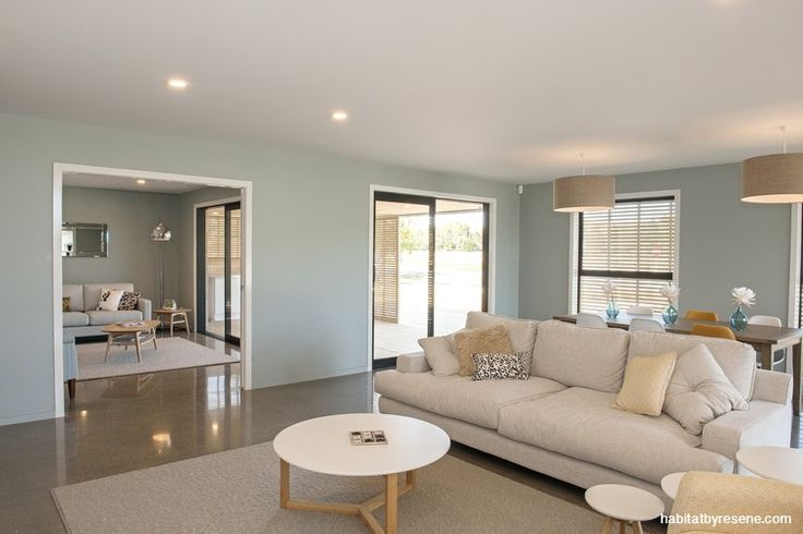 The two living areas have walls painted in Resene Half Inside back, an unusual choice for show homes, which normally feature more subtle colours.  http://www.habitatbyresene.co.nz/michelle-and-andrew-show-some-vision