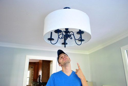 Painting brass chandelier and adding a large drum shade (to replace current nasty drum shade in our dining room)