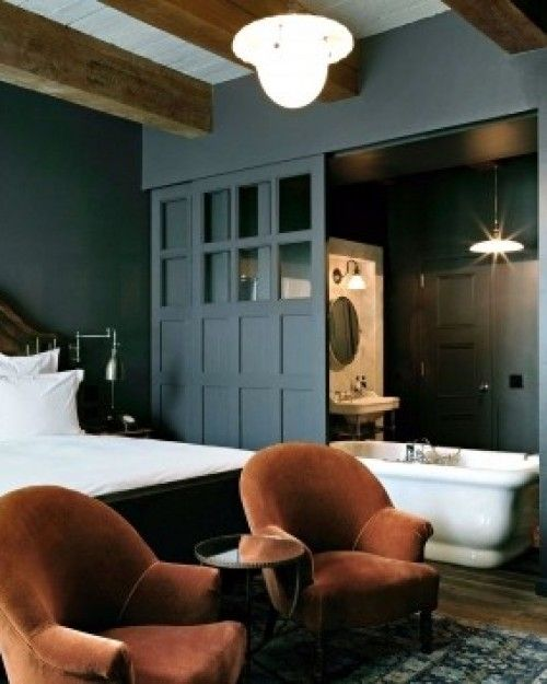 Caramel Mohair club chairs, grey-blue walls = handsome.  Soho House New York (New York City, New York)