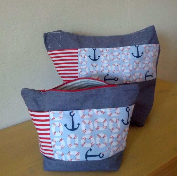 Cotton canvas beach bag with coordinating zippered pouch featuring Blend & Michael Miller fabrics
