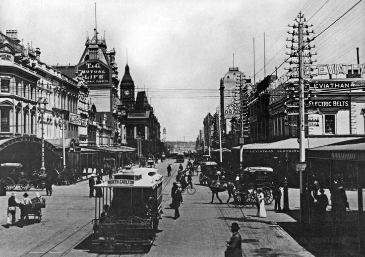 Vintage Melbourne Australia. cnr of Swanston and Bourke, with original facade of Leviathan Clothing Store. late 1800's, pre 1912, North Carlton tram in foreground.