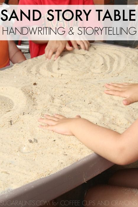 Make your own sensory surface with sand to practice handwriting and storytelling with kids.