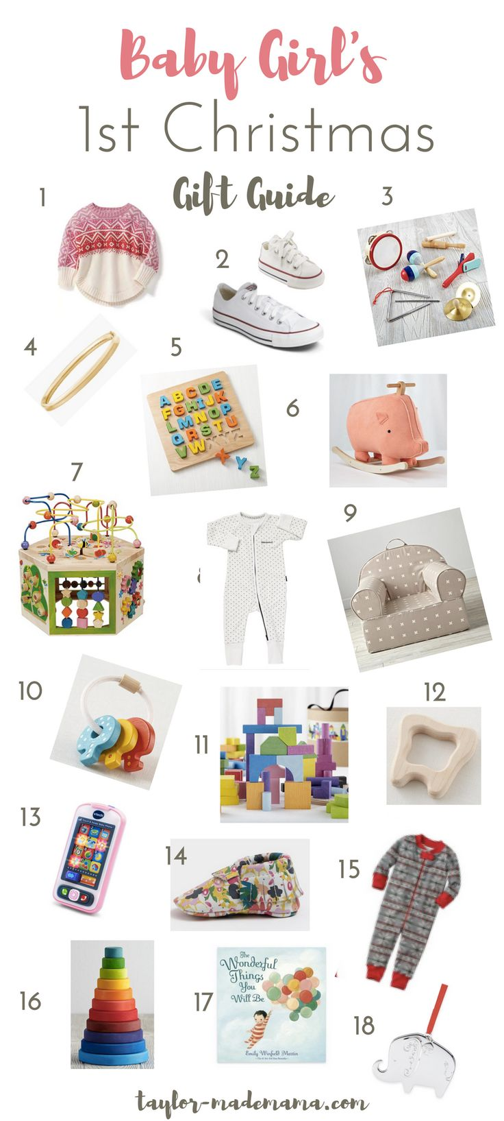 Your baby's first Christmas is such a special occasion. Here is a list of 18 gift ideas to give a baby girl on her 1st Christmas.