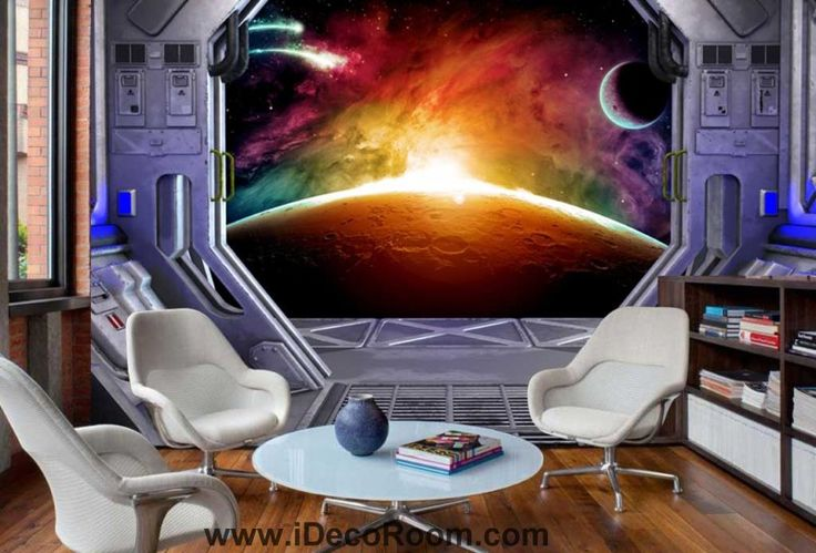 View Of Space From Spaceship Art Wall Murals Wallpaper Decals Prints Decor IDCWP-JB-000864