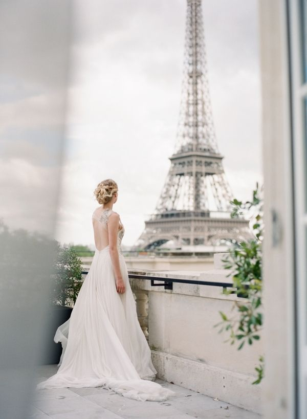 Lovely Paris wedding inspiration shot on film at the historic Shangri la hotel in Paris. Paris destination wedding photographer.