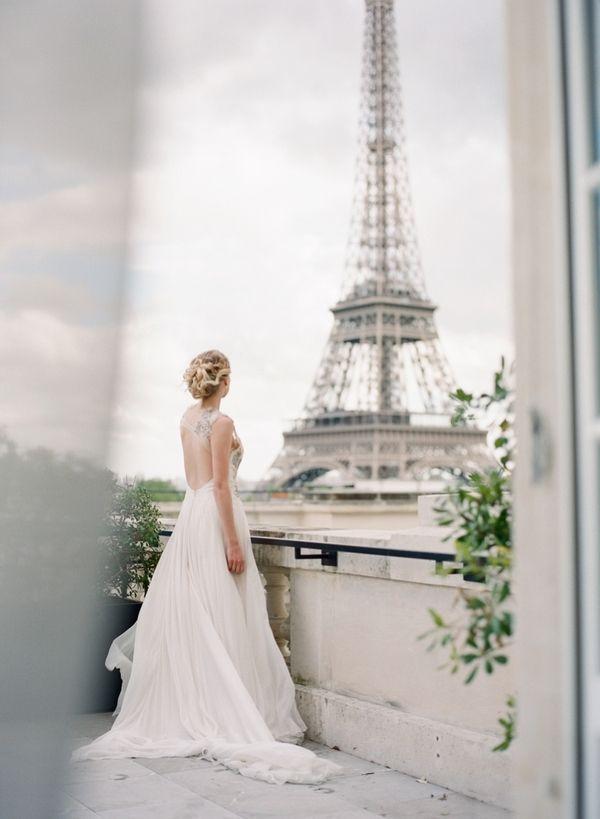 Lovely Paris wedding inspiration shot on film at the historic Shangri la hotel in Paris. Paris destination wedding photographer.