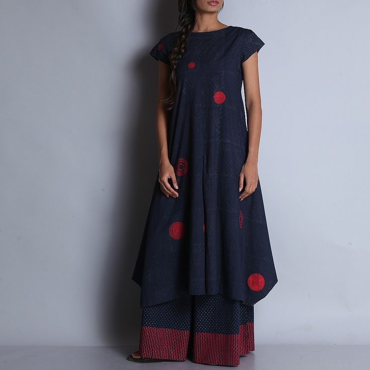 Hand Block Printed Indigo Cotton Kurta With Red Circular Motifs
