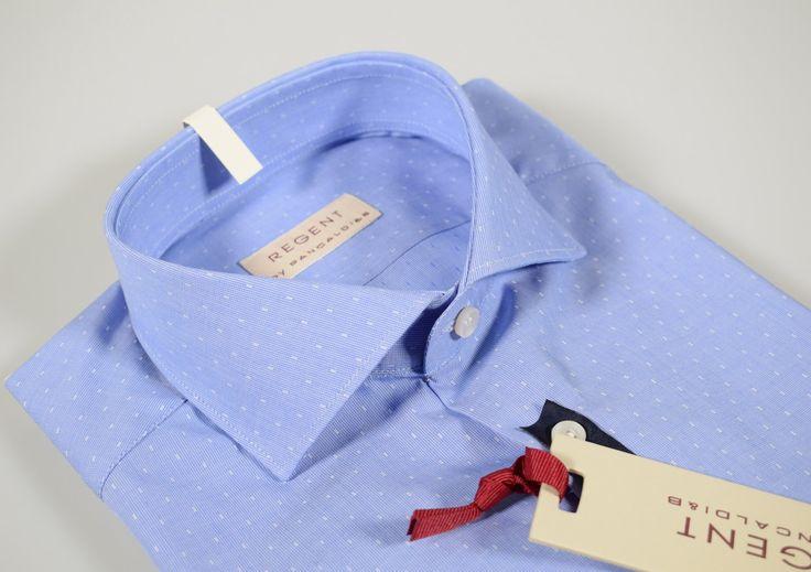 Slim fit blue clear micro fantasy collar half sleeve shirt french