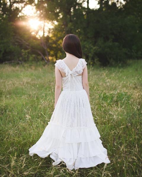f32463addb tween boho chic maxi dress bohemian lace white first communion dress Flower  Girl Dresses Boho