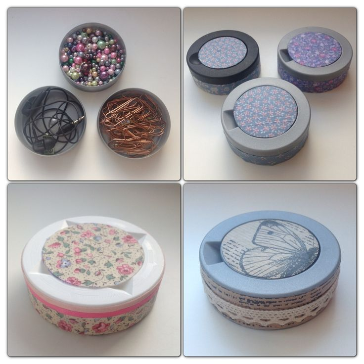 "Plastic containers (for the Swedish tobacco called ""snus"") decorated with fabric, paper and lace."