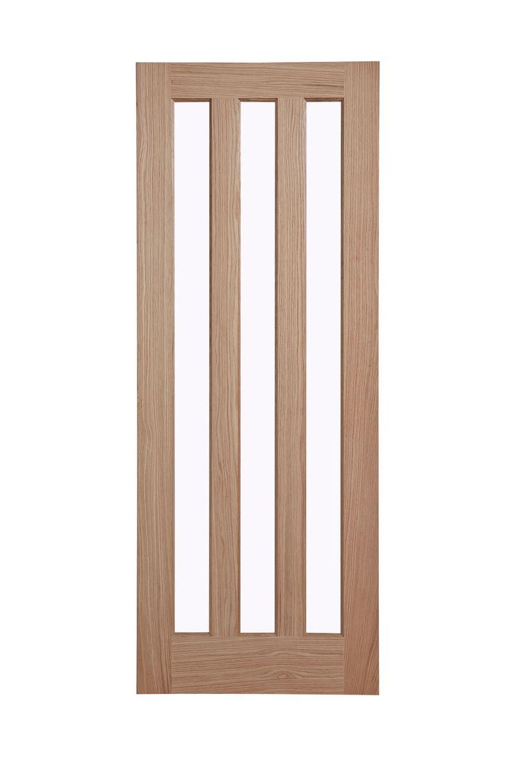 Vertical 3 Panel Oak Veneer Glazed Internal Door, (H)1981 (W)762mm | Rooms | DIY at B&Q £127