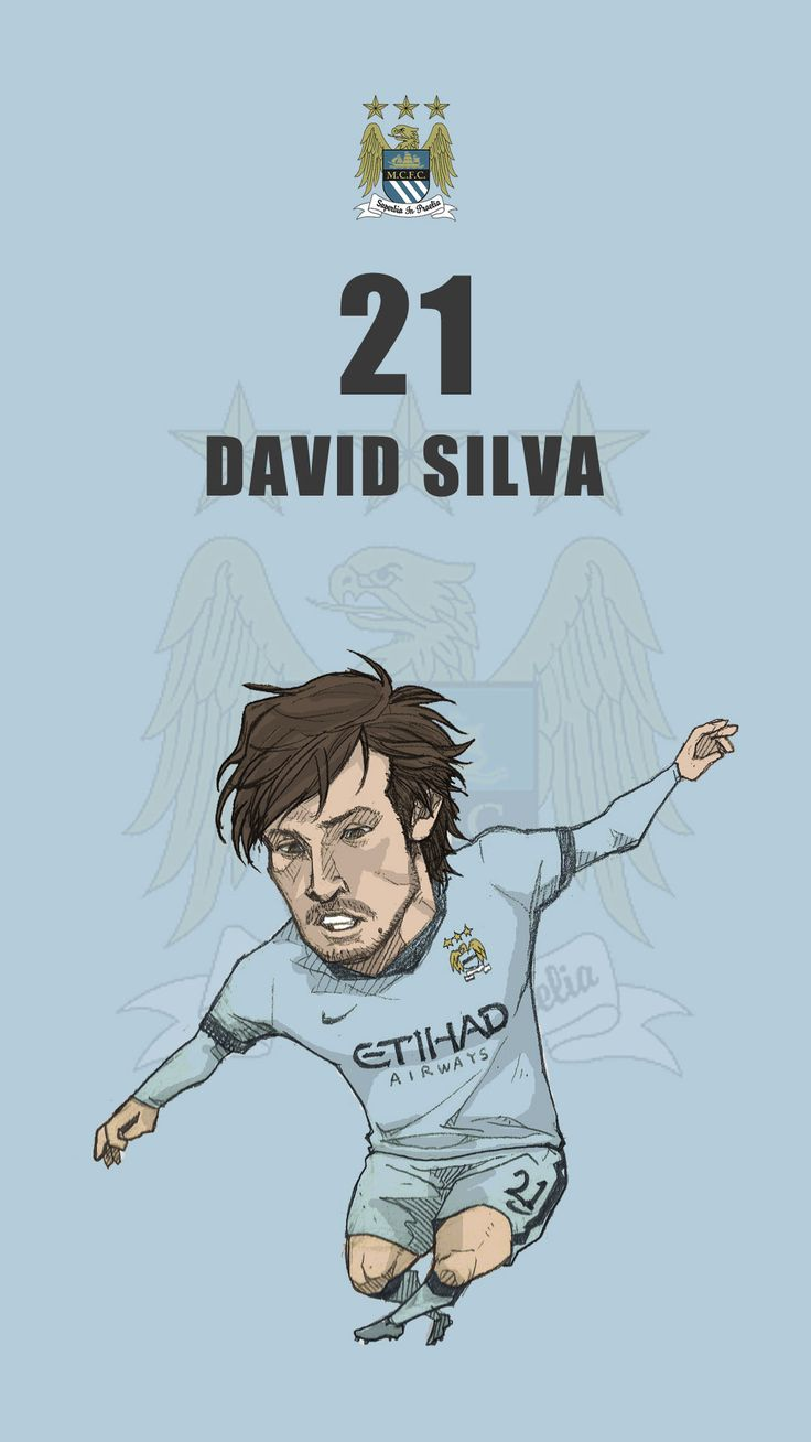 "Manchester city fan art for mobile wallpaper ""David Silva"""
