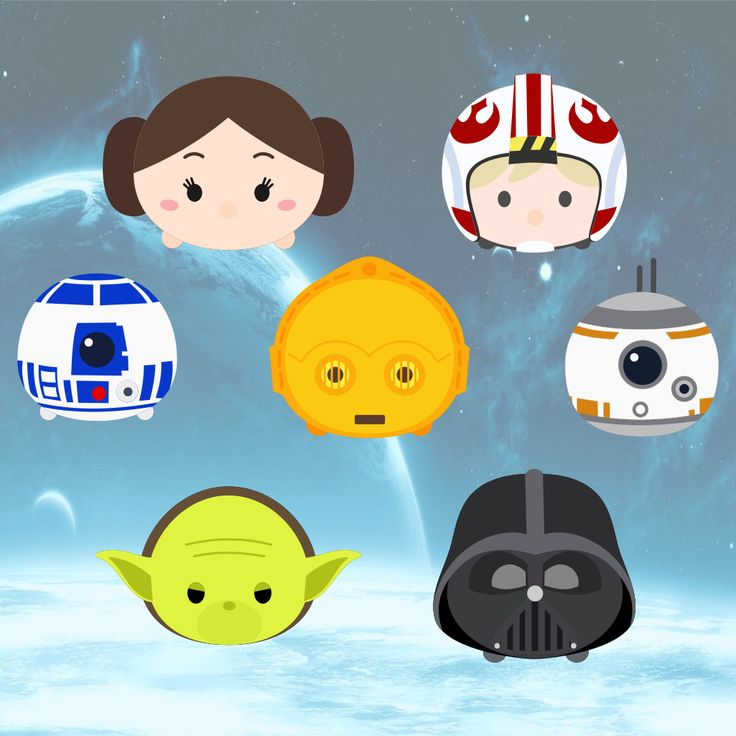Here are Tsum Tsum Luke Skywalker, Princess Leia, Yoda,    C3PO, R2D2, BB8, and Darth Vader     **FOR PERSONAL USE ONLY**     Click Here to...