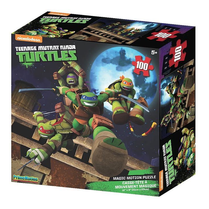 """Let your little one's mind be blown away by our TMNT magic motion 100pc Puzzle. If your kids love TMNT then this is the jack pot! This isn't just a puzzle, it is a 3D Puzzle measuring  12 x 9"""" once assembled. When finished your kid will feel like the TMNT Characters are coming right out of the picture!"""