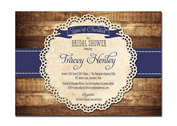 Rustic Bridal Shower Invitation Navy Blue Wood Lace Baby Shower Rustic Wedding Invitation DIY Digital or Printed - Tracey Style via Etsy
