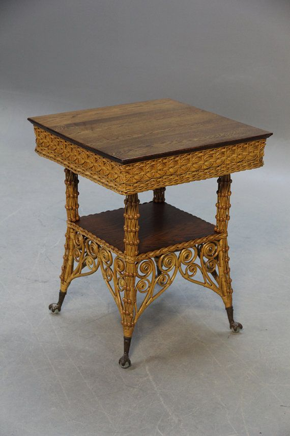 Antique Victorian Ball and Claw Curlicue Oak-top Wicker Table   c.1880's-1890's