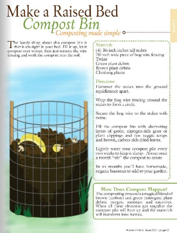 Make a raised bed compost bin for the garden.