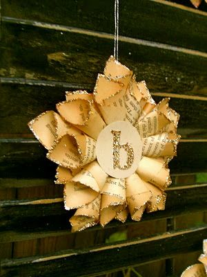 """Tiny paper star ornaments. Personalized with a single letter. The ornaments measure 5"""" point to point. These would be cool with a mirror paper in the center to reflect the light."""