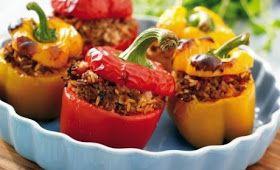 Gevulde paprika met gehakt & rijst uit de oven!