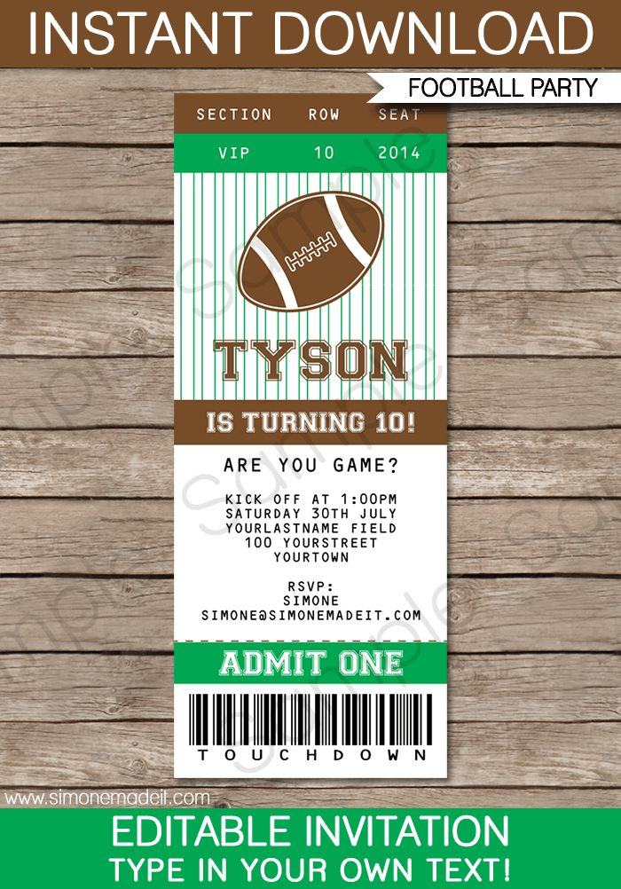 football ticket invitation template 8th birthday birthdays and football birthday. Black Bedroom Furniture Sets. Home Design Ideas