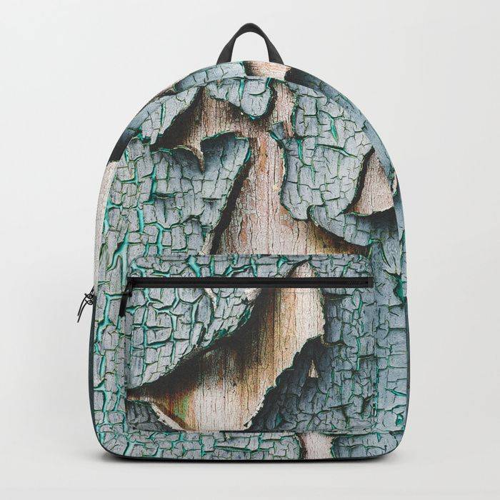 Rustic old light blue green peeling paint Backpack by #PLdesign #rusty #cool #RustyTexture #Society6