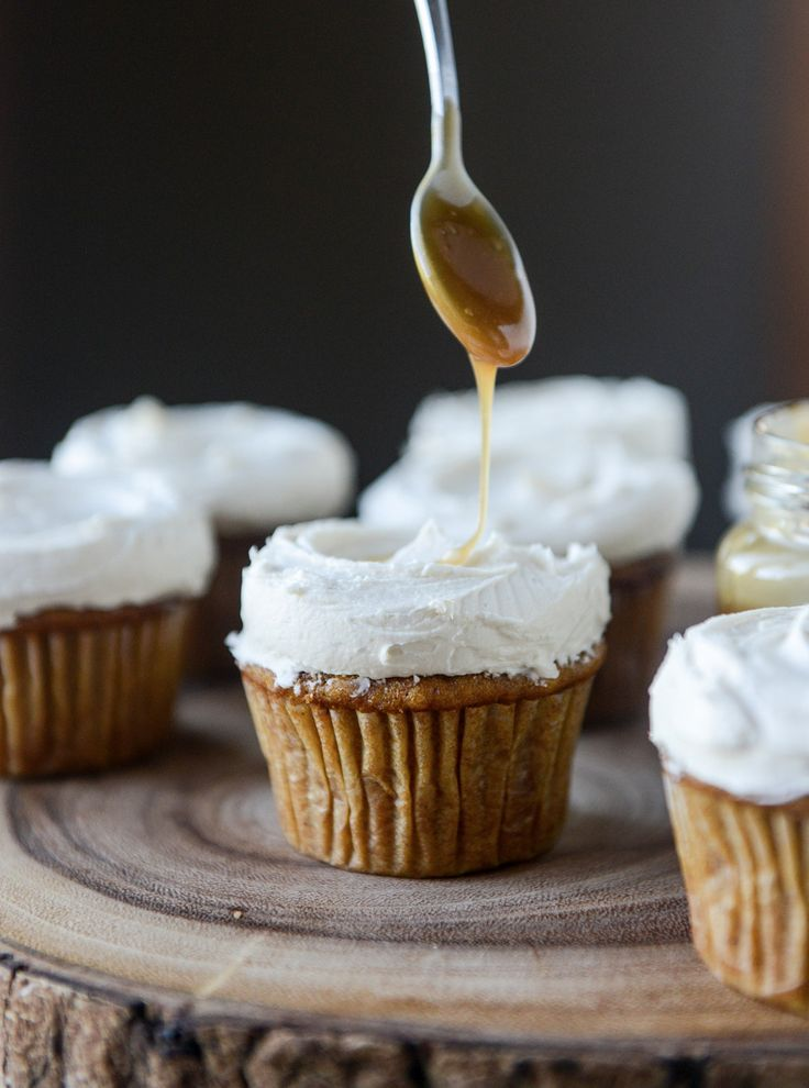 Pumpkin Cupcakes with Salted Caramel Frosting