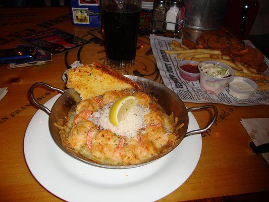 """I'M STUFFED"" SHRIMP. Bubba Gump Copycat Recipe. This dish is called ""I'm Stuffed"" Shrimp at Bubba Gump Shrimp Company.  It has large shrimp with crab stuffing baked in garlic butter.  It is topped with Monterey Jack Cheese with Jasmine Rice in the middle."