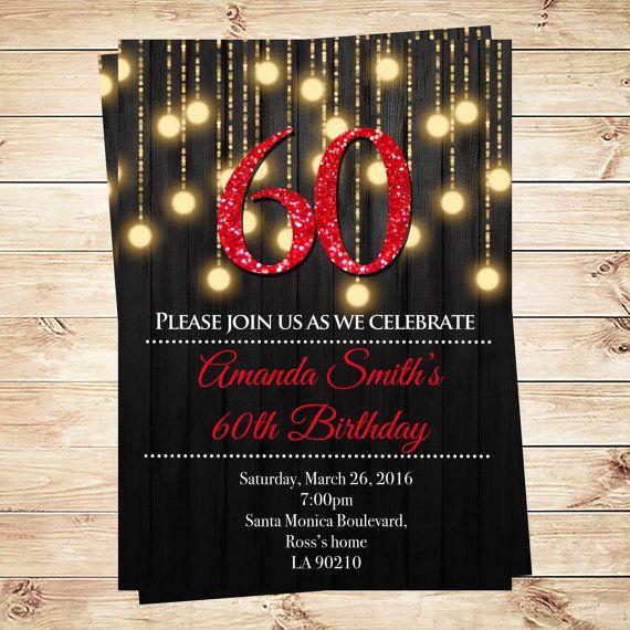 Red 60th birthday invitations, 60th Birthday Invitations for her, Red and gold 60 birthday invitations, PDF Invitation, DIY Party Invitation