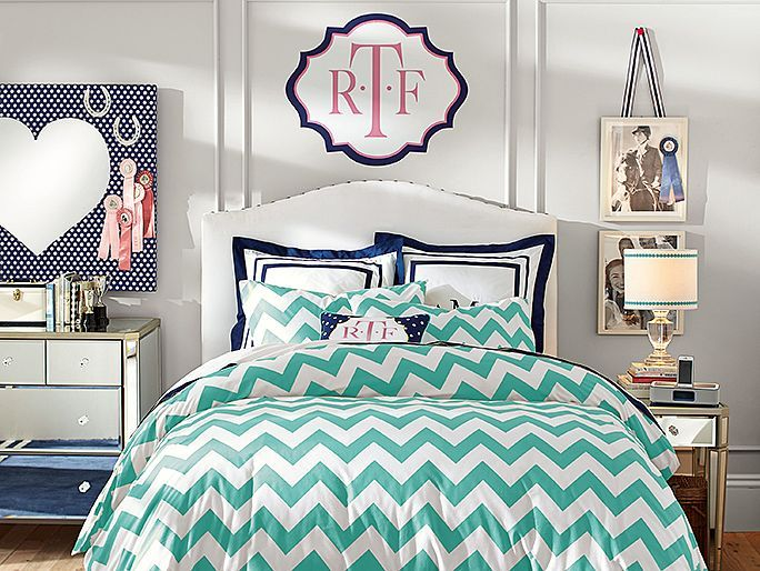 I love navy anything anytime any place and this design is no exception. The bright aqua and white look wonderful paired with together with the simple touch of navy. I also love the personal monogram touch.