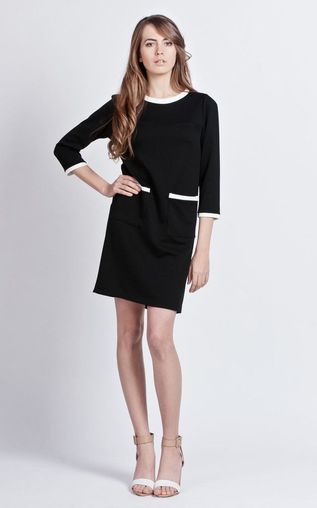 Slight twist to the LBD, with white collar, cuffs and stitched pockets, perfect for a day in the office!
