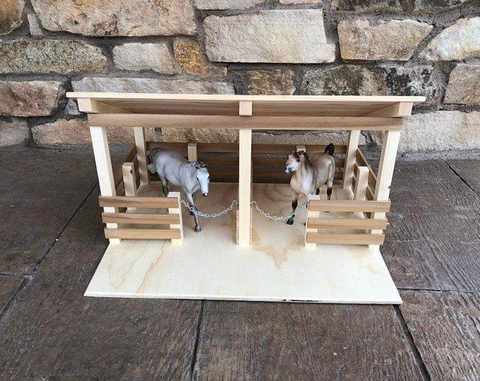 Toy 2 Stall Fenced In Stable Etsy In 2020 Wooden Barn Toy Horse Stable Toy Barn