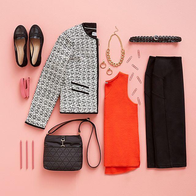 Cropped Blazer love! #WorkWear #WorkStyle #Orange #Flatlay