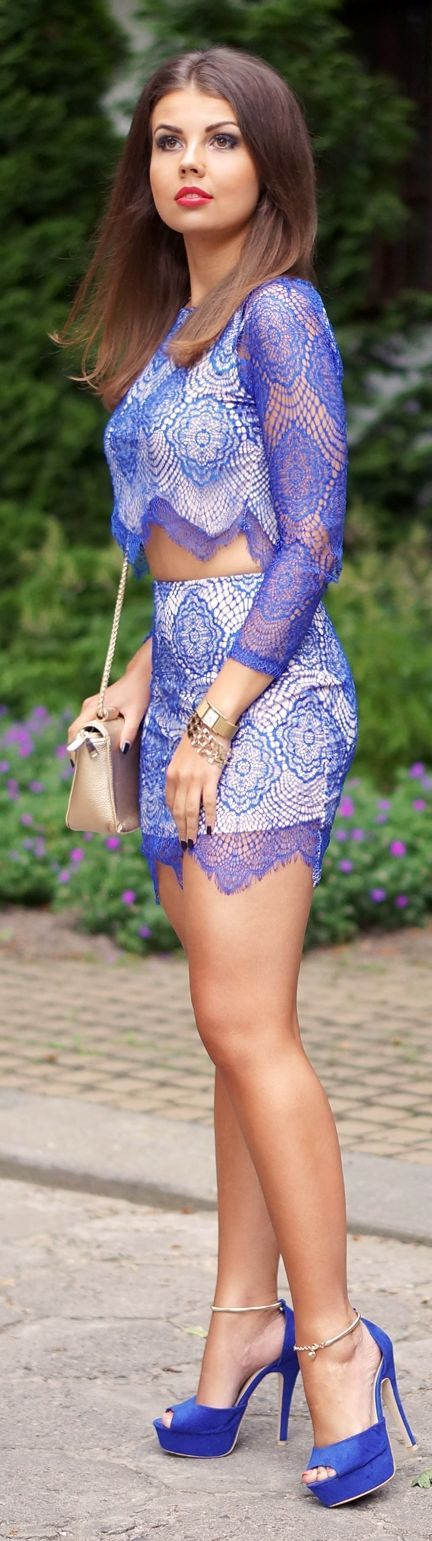 Blue Lace Skirt And Top Set by A piece Of Anna