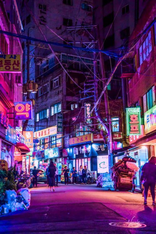 noe s korea unedited cyberpunk city city aesthetic