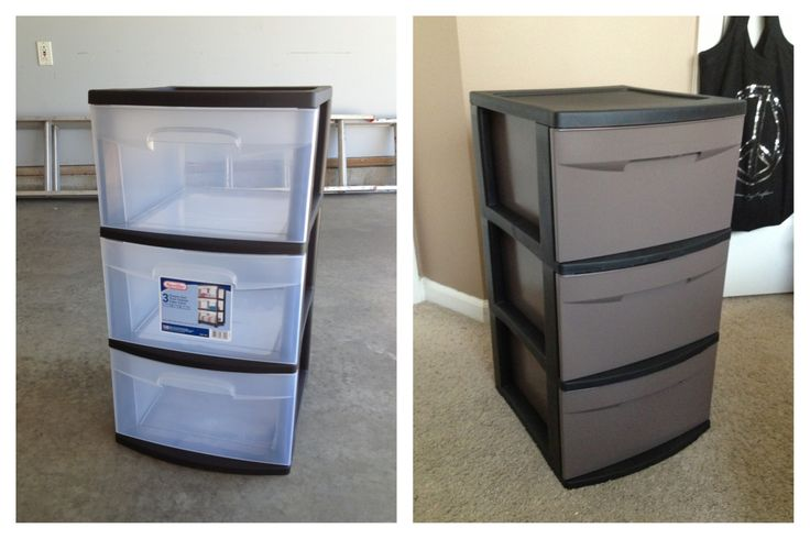 Cheap college-kid-apartment option. Spray paint plastic drawers to match room